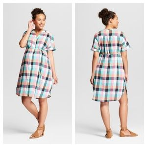 Isabel Maternity Pastel Plaid Dress